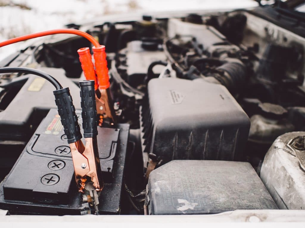 car battery with jumper leads